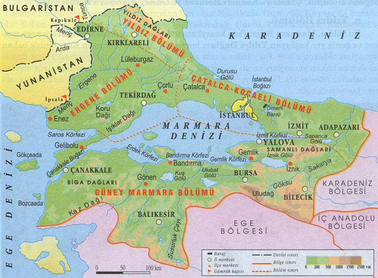 Marmara bölgesi nin önemli yeryüzü şekilleri